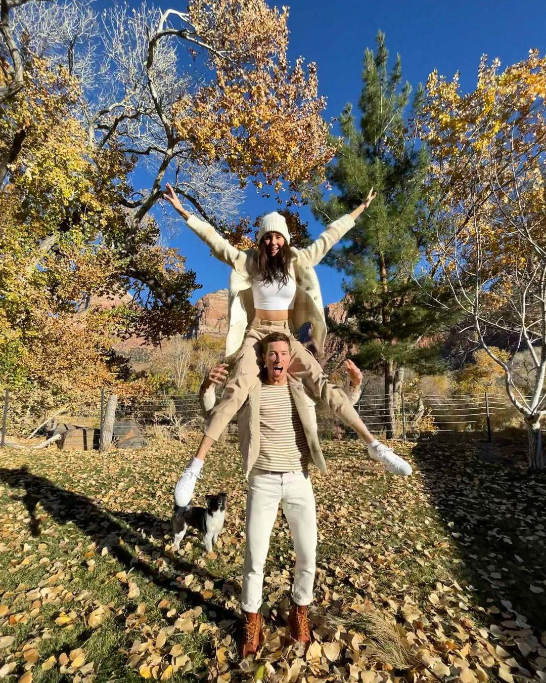 Nina Dobrev Balances on BF Shaun White's Shoulders in Perfect Fall Pic
