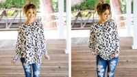 Tickled Teal Long-Sleeve Leopard Loose Top
