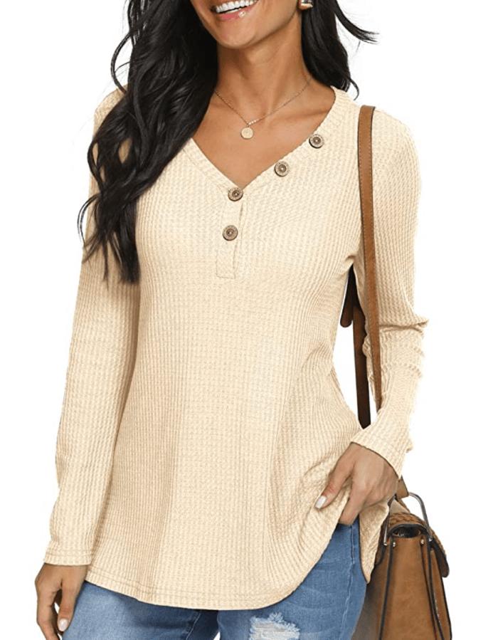 Camiseta tipo túnica de punto waffle para mujer ANIXAY