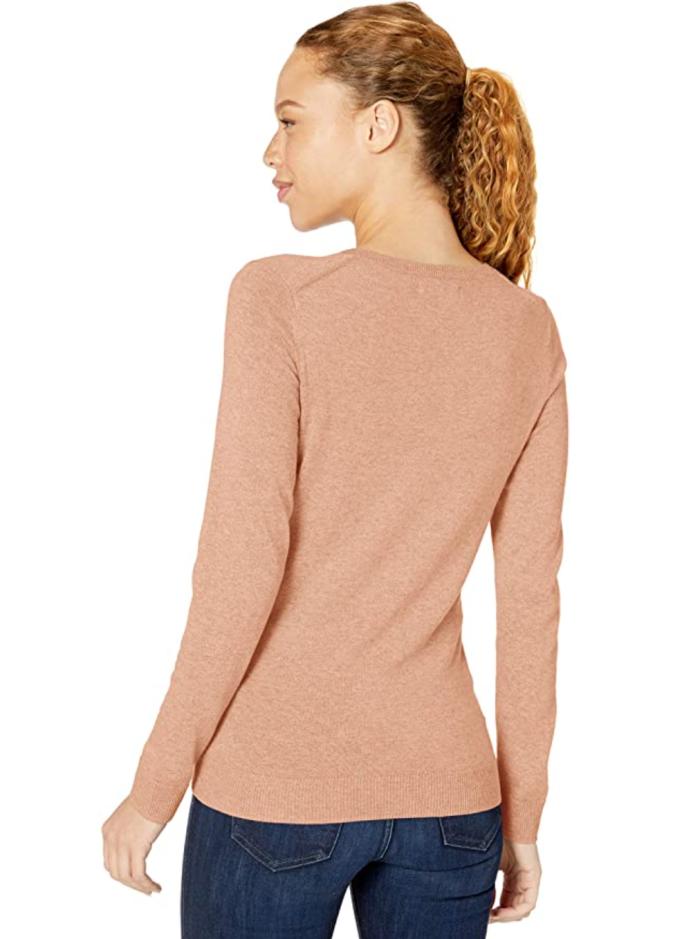 Suéter ligero de manga larga con cuello en V y corte clásico para mujer de Amazon Essentials
