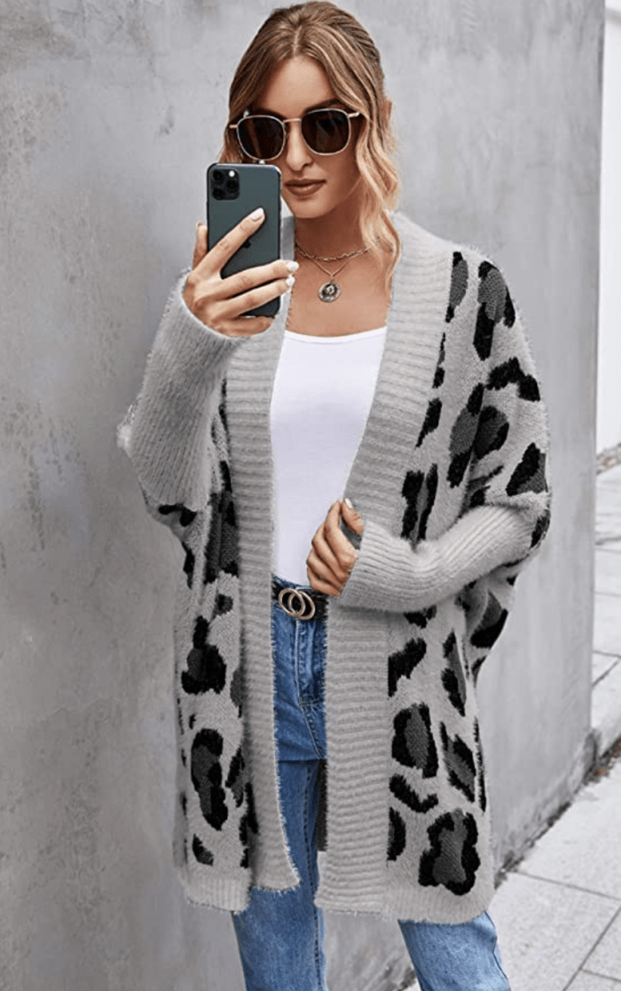Angashion Women's Long Sleeve Leopard Print Open Front Cardigan Sweater