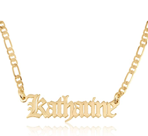 Beleco Jewelry Customize Name Necklace With Figaro Chain