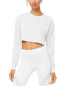 Bestisun Long Sleeve Crop Top Cropped Sweatshirt for Women