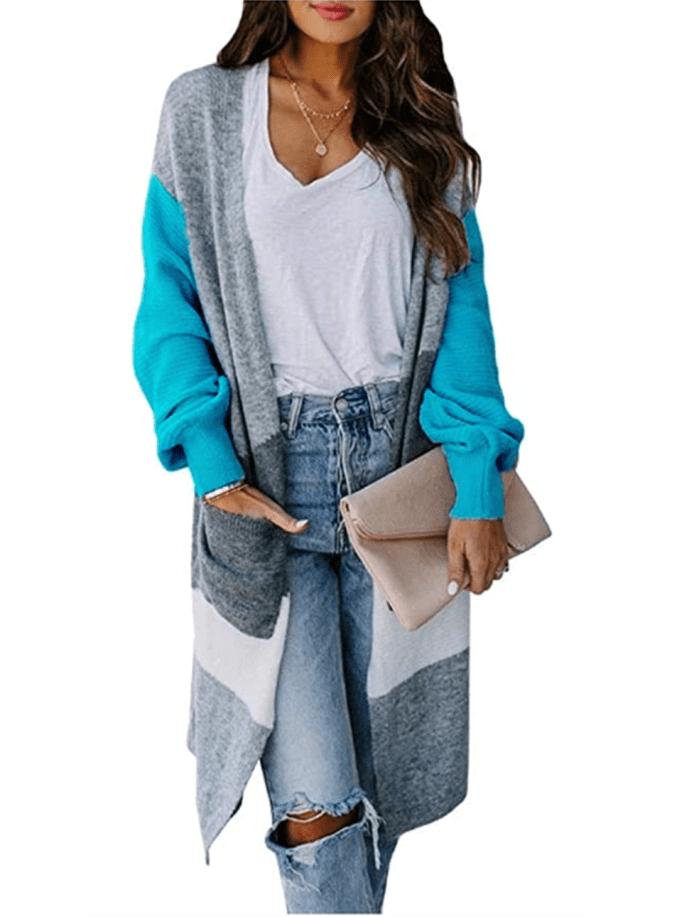Cysincos Cárdigan largo drapeado a rayas con bloques de color para mujer con bolsillos