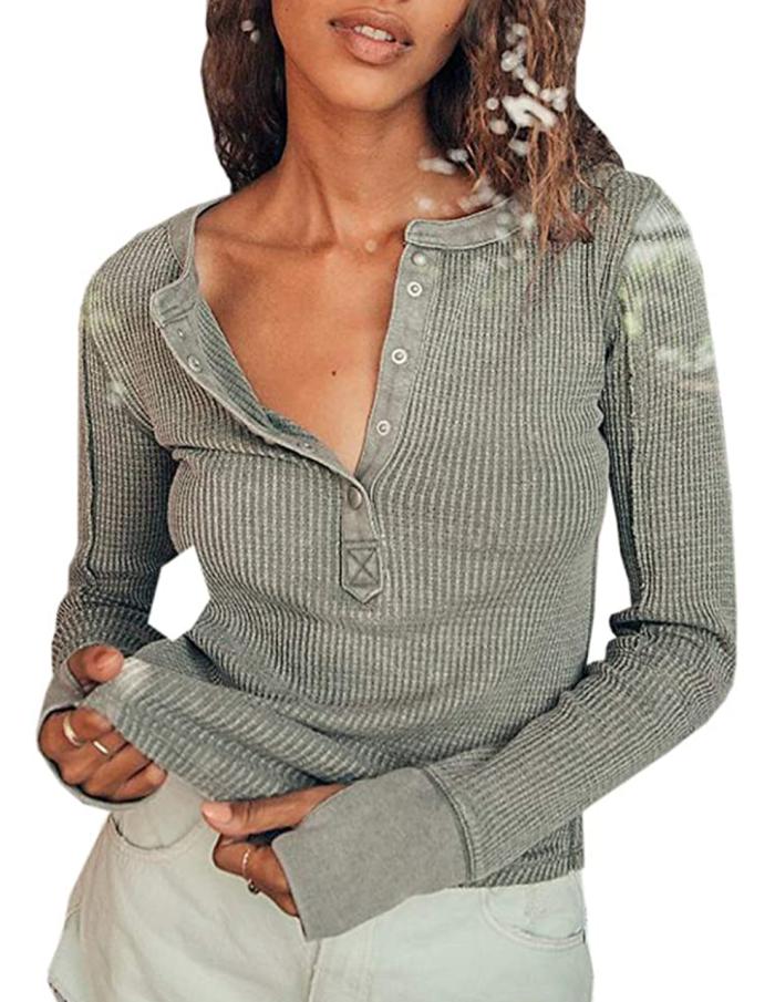Dellytop Top de punto de gofre cálido con botones henley de manga larga para mujer