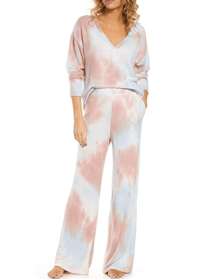 Dokotoo Conjunto de pijama con estampado Tie Dye para mujer
