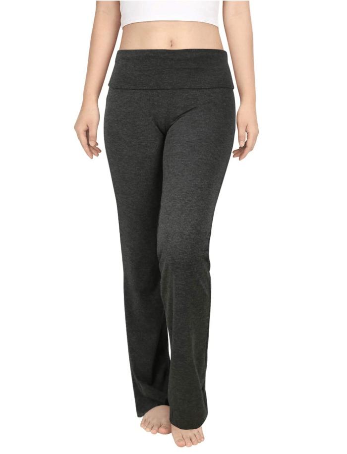 Pantalón de yoga de cintura doblada en bloque de color HDE para mujer