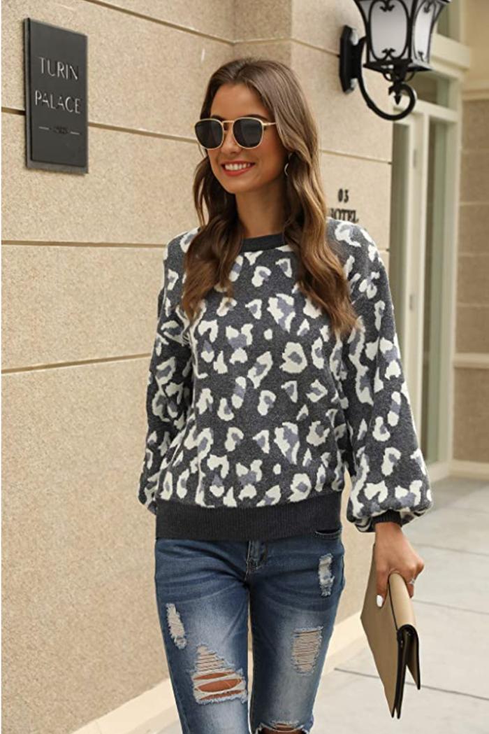 Suéter de manga larga con puff tejido para mujer Hirate