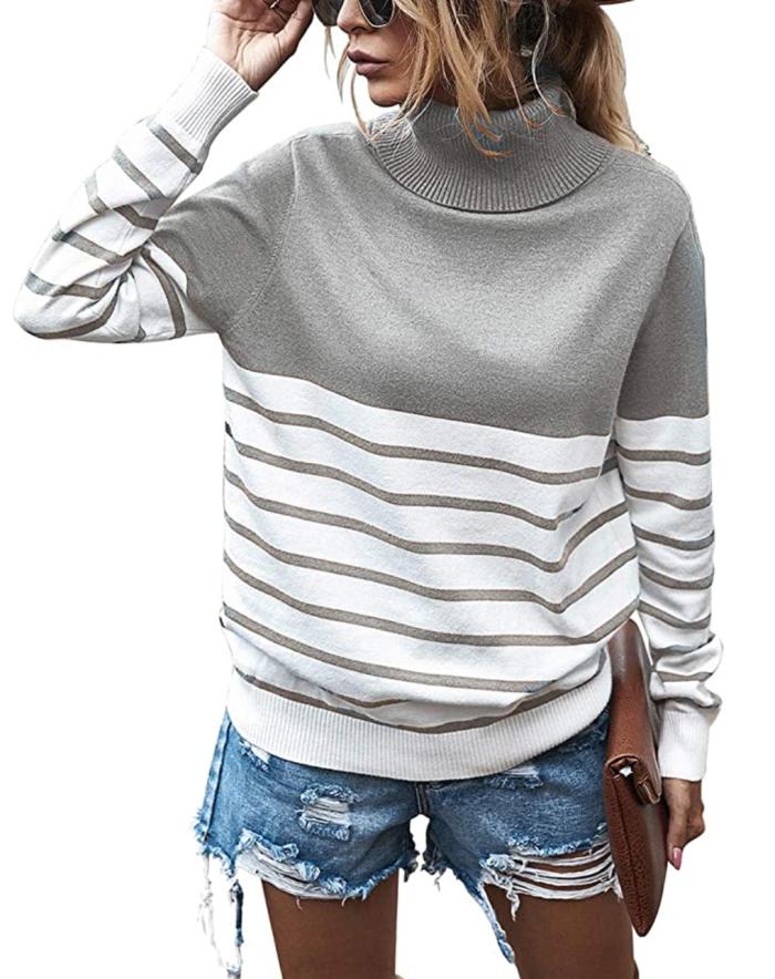 KIRUNDO 2020 suéter de punto de manga larga con cuello alto y canalé holgado para mujer