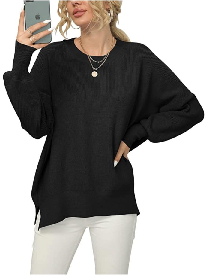 LOGENE Suéter de punto acanalado con abertura lateral y cuello redondo de gran tamaño para mujer