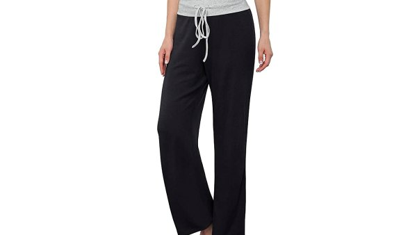 LONGYUAN Women's Comfy Casual Stretch Drawstring Palazzo Lounge Pants