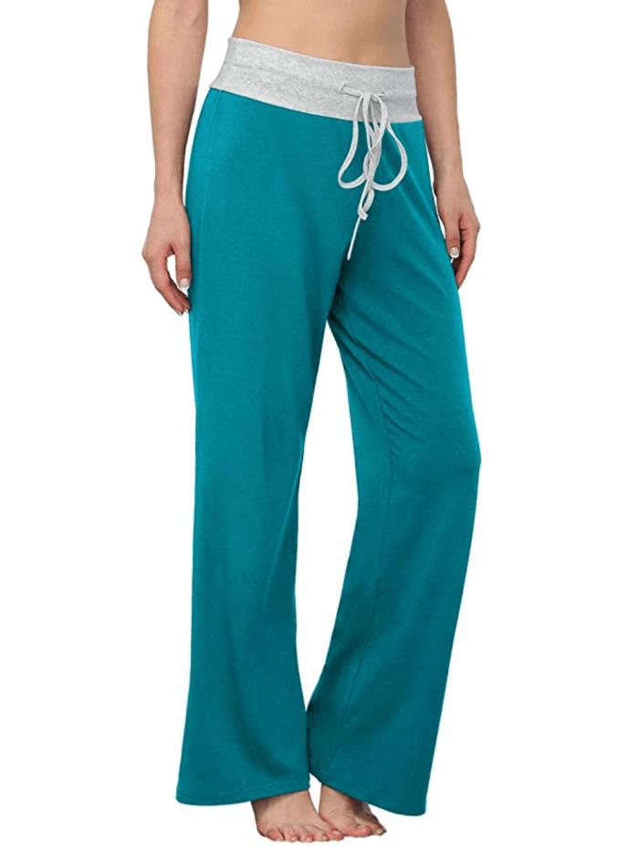 LONGYUAN Pantalones de salón palazzo elásticos informales cómodos con cordón para mujer