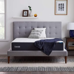 LUCID 10 Inch Memory Foam Firm Feel – Gel Infusion – Hypoallergenic Bamboo Charcoal Mattress
