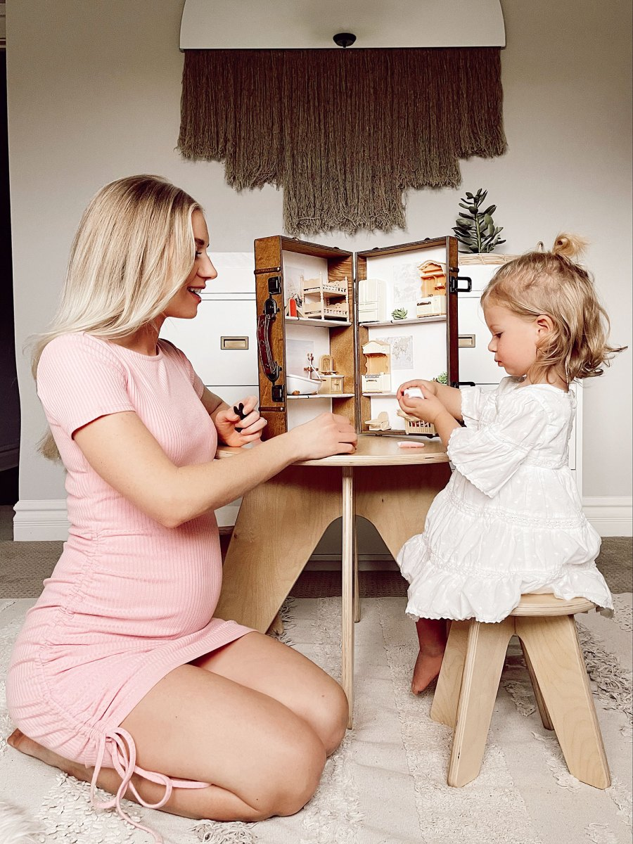 Lauren Burnham and Alessi Luyendyk Playing With a Dollhouse