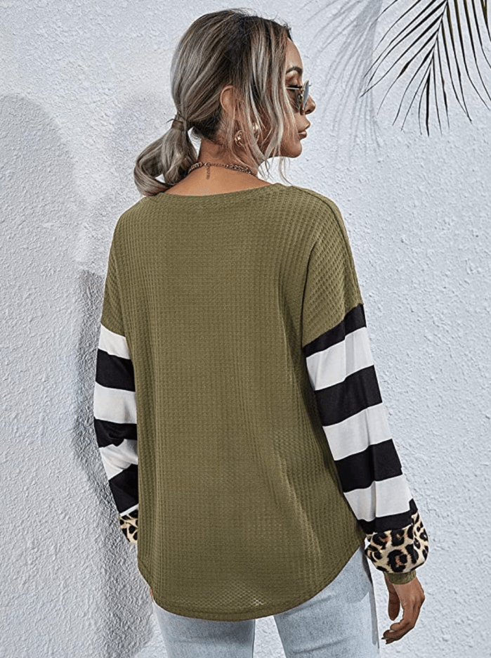 LilyCoco Women's V Neck Leopard Print Shirt Striped Lantern Sleeve Waffle Knit Pullover Top