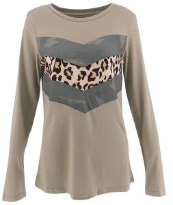 Limerose Women's Casual Leopard Print Camo Print Long Sleeve Top