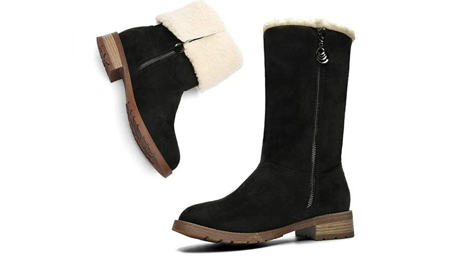 MEGNYA Suede Closed Toe Mid-Calf Zipper High Snow Winter Boots for Women