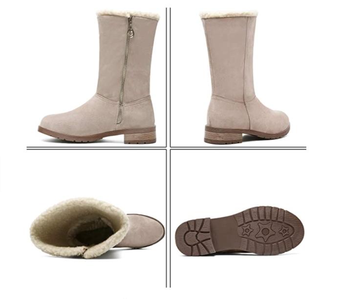 MEGNYA Botas de invierno de gamuza con punta cerrada con cremallera a media pierna y alta nieve para mujer