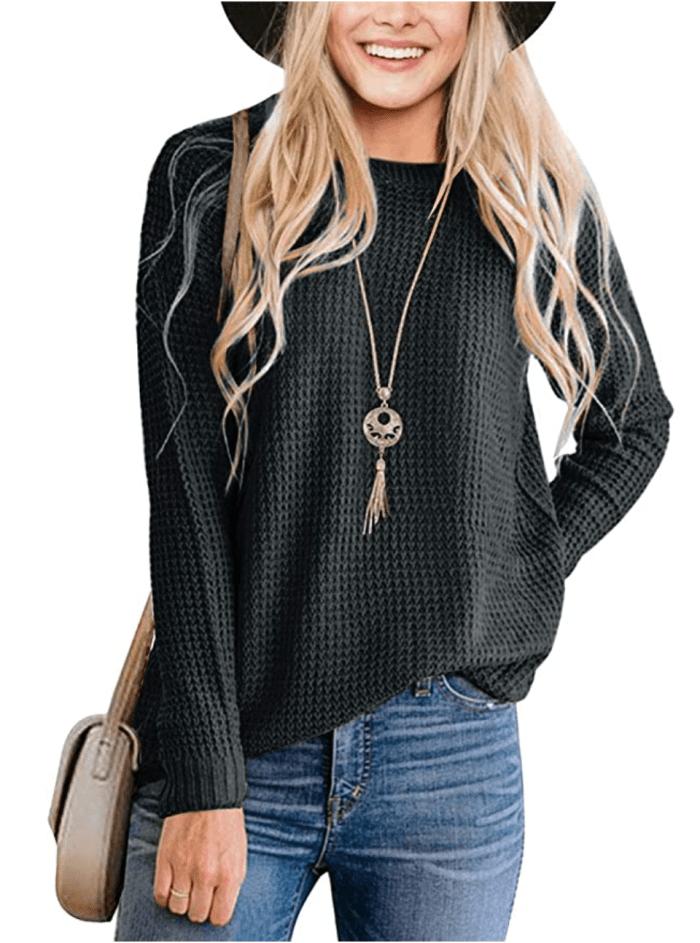 MEROKEETY Camiseta de manga larga con cuello redondo y tejido tipo gofre para mujer