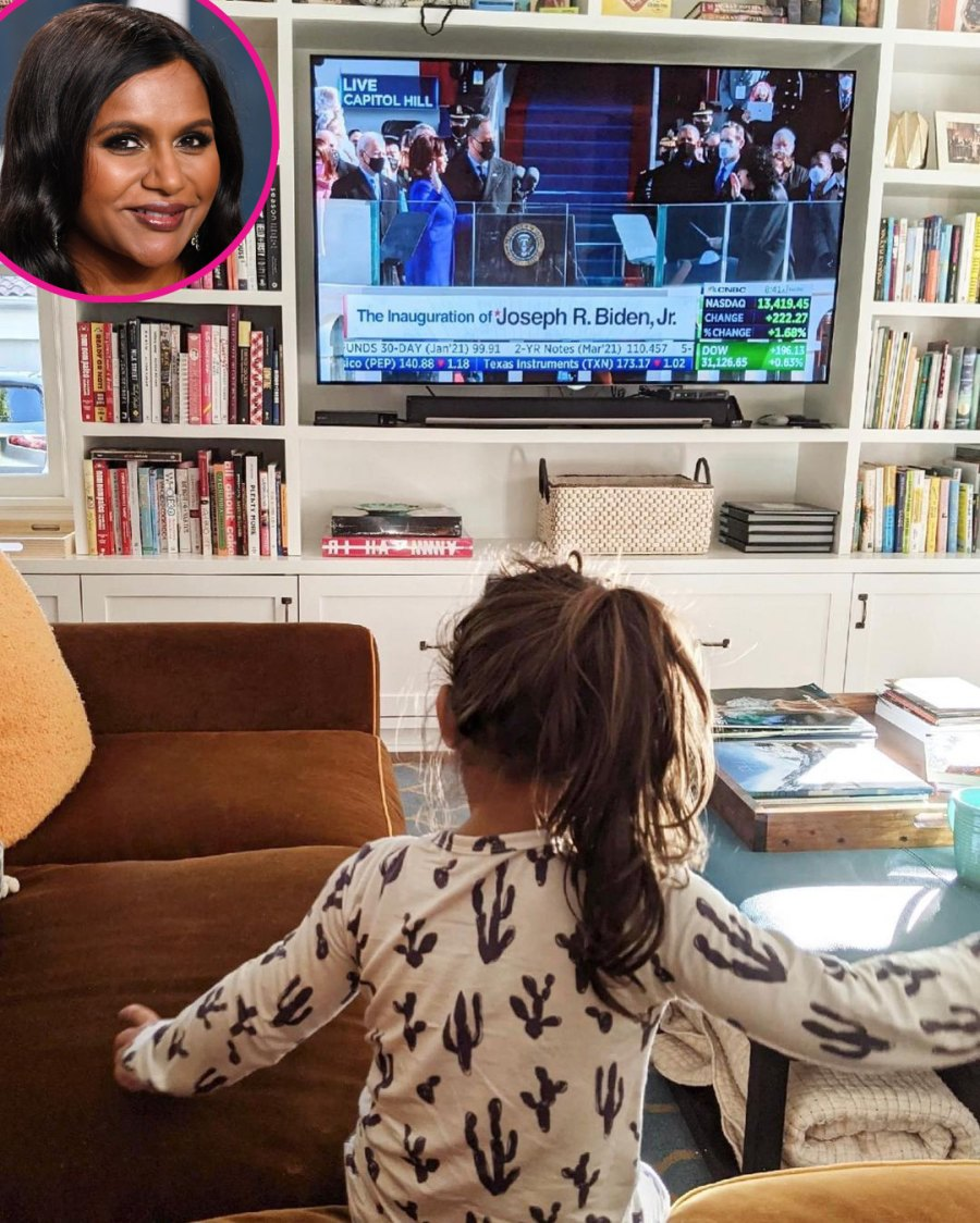 Mindy Kaling Celeb Parents Watch Joe Biden's Inauguration With Children