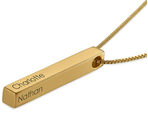 MyNameNecklace Personalized Engraved 4 Sided Vertical 3D Bar Necklace Pendant