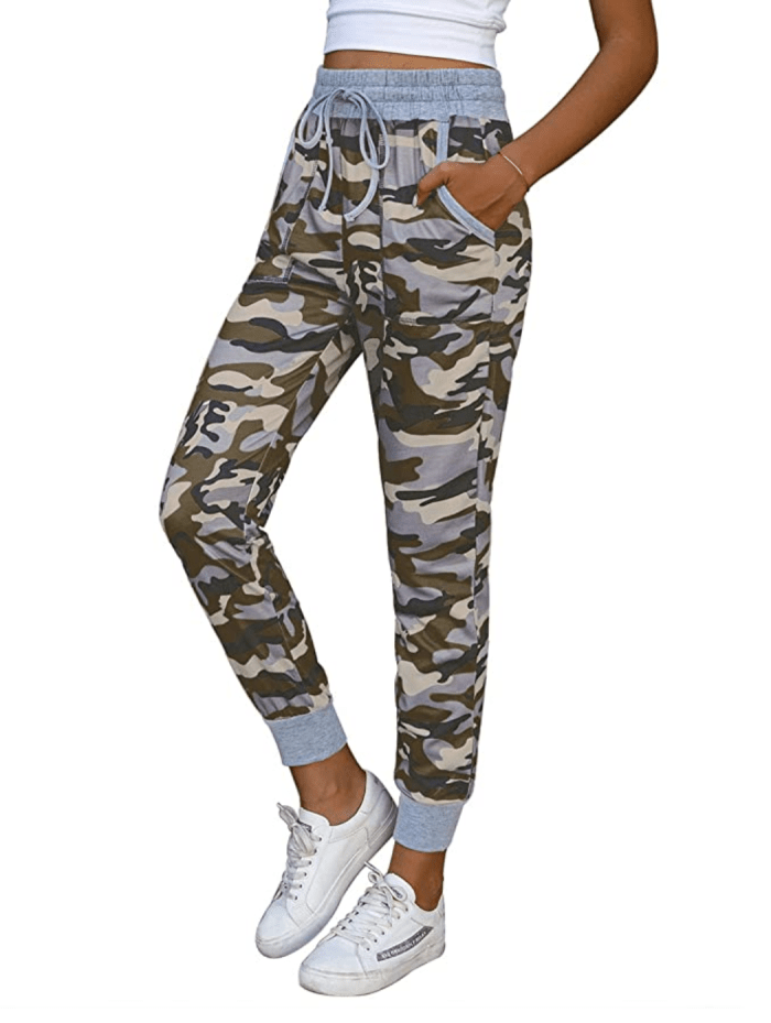 NIMIN Pantalones deportivos de cintura alta con cordones para mujer
