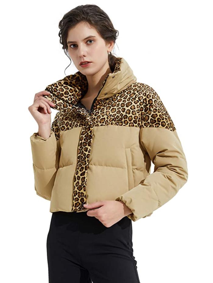Orolay Chaqueta de plumón con estampado de leopardo para mujer Abrigo de invierno Chaqueta acolchada recortada