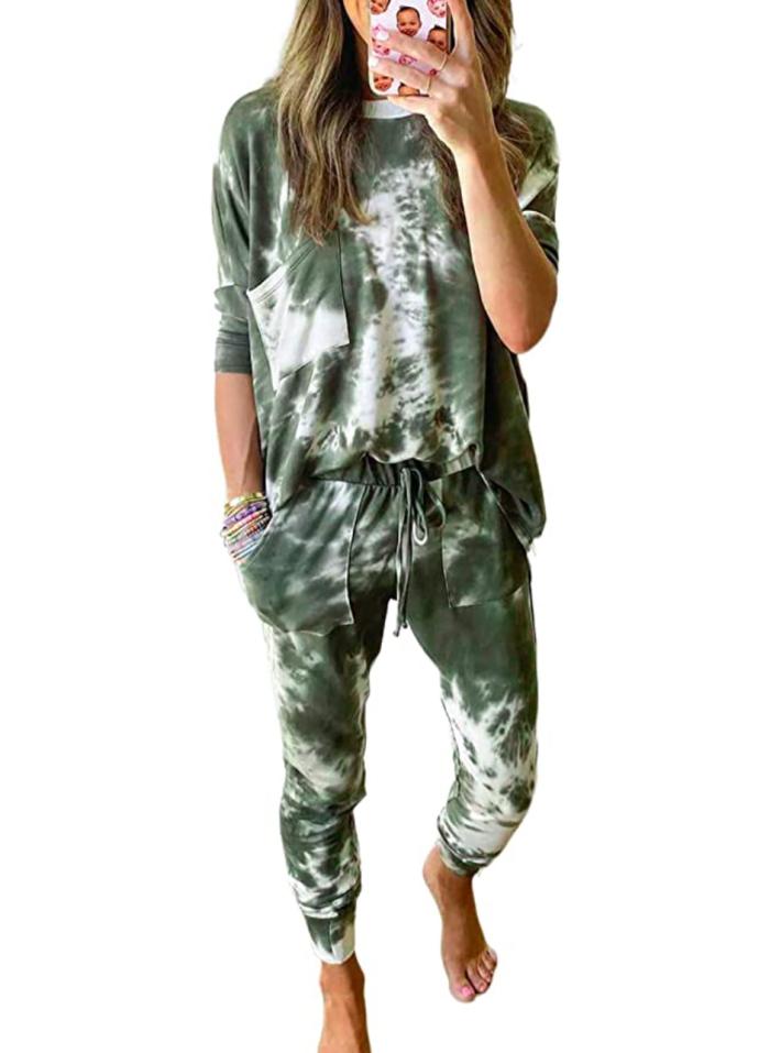 ROSKIKI Women's 2 Piece Tie Dye Pajama Sweatpants Set