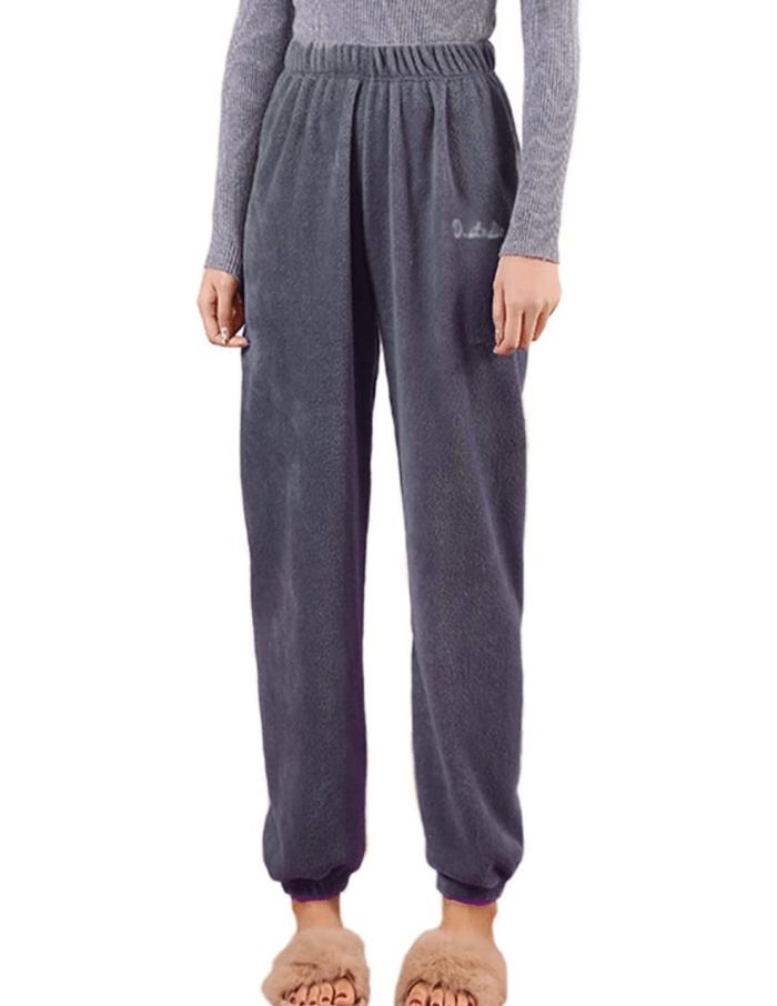 Romastory - Pantalones de pijama grueso de invierno para mujer