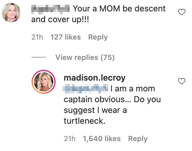 Southern Charm Madison LeCroy responde a Mom-Shamer que le dijo que se cubriera en medio del drama de Jay Cutler
