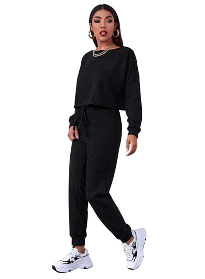 SweatyRocks Conjunto de pantalón de chándal y top corto de manga larga para mujer