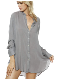 TOUSYEA Button Down Long Sleeve Sleepwear Soft Pajama Top