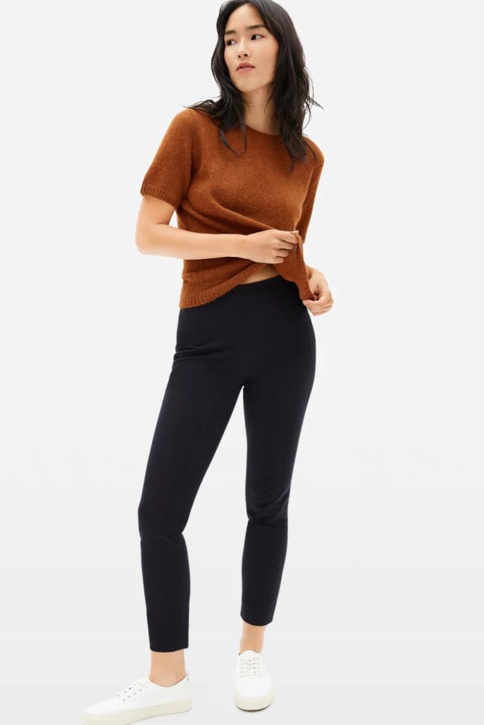 Pantalón de algodón elástico con cremallera lateral