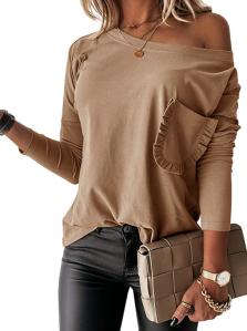 Vermisse Women's Boat Neck Ruffle Trim Front Pocket Shirt