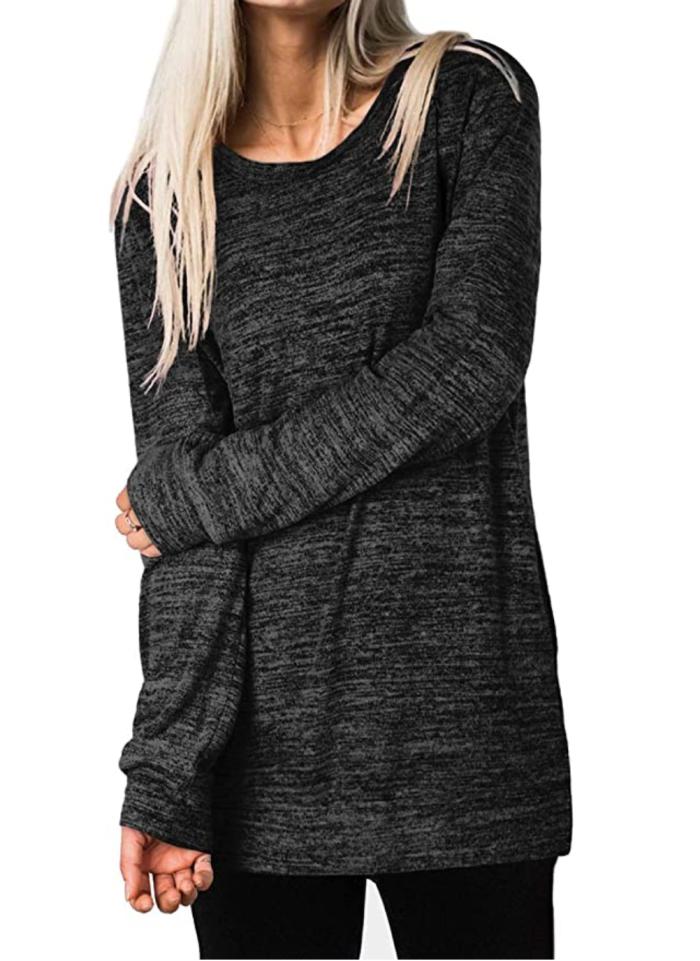 XIEERDUO Top de túnica extragrande de manga larga informal para mujer