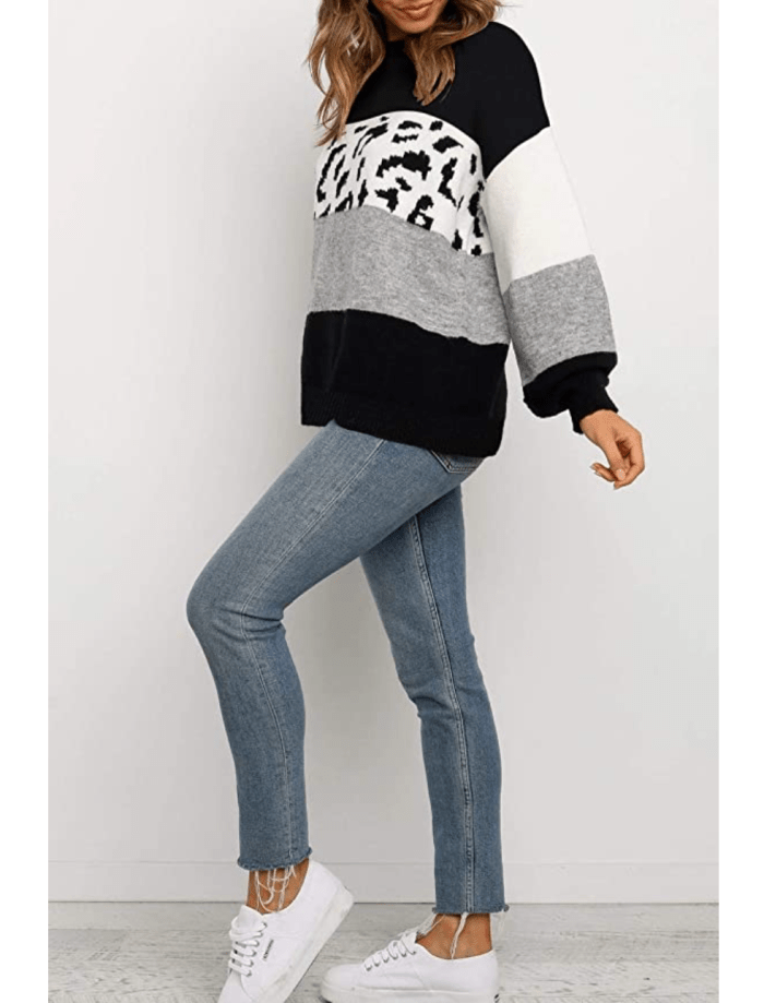 ZESICA Women's Striped Leopard Printed Long Sleeve Color Block Casual Knitted Pullover Sweater