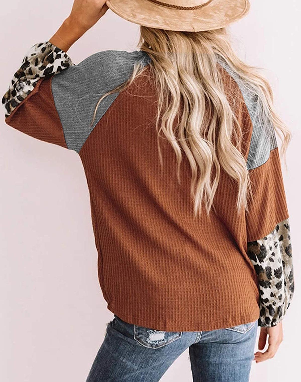 ROSKIKI Leopard Long-Sleeve Waffle Knit Orange Twist Knot Loose Shirt