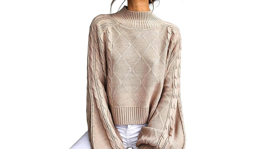 Choies Mock Turtleneck Lantern-Sleeve Cable-Knit Pullover Sweater