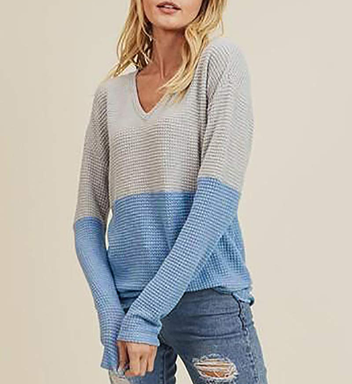 Dellytop Long-Sleeve Thermal Waffle Knit Top