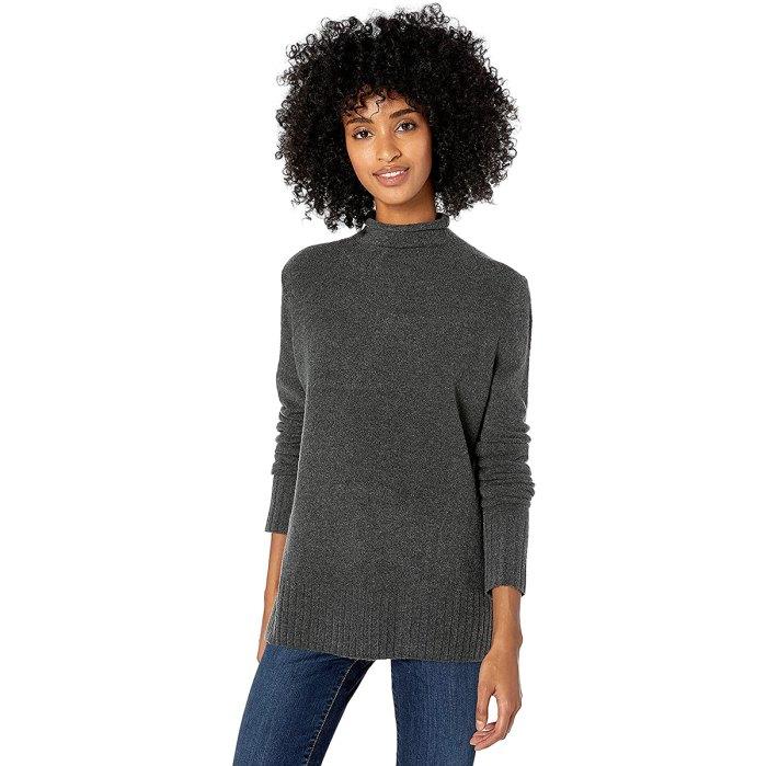 Suéter elástico con cuello alzado de calibre medio Goodthreads