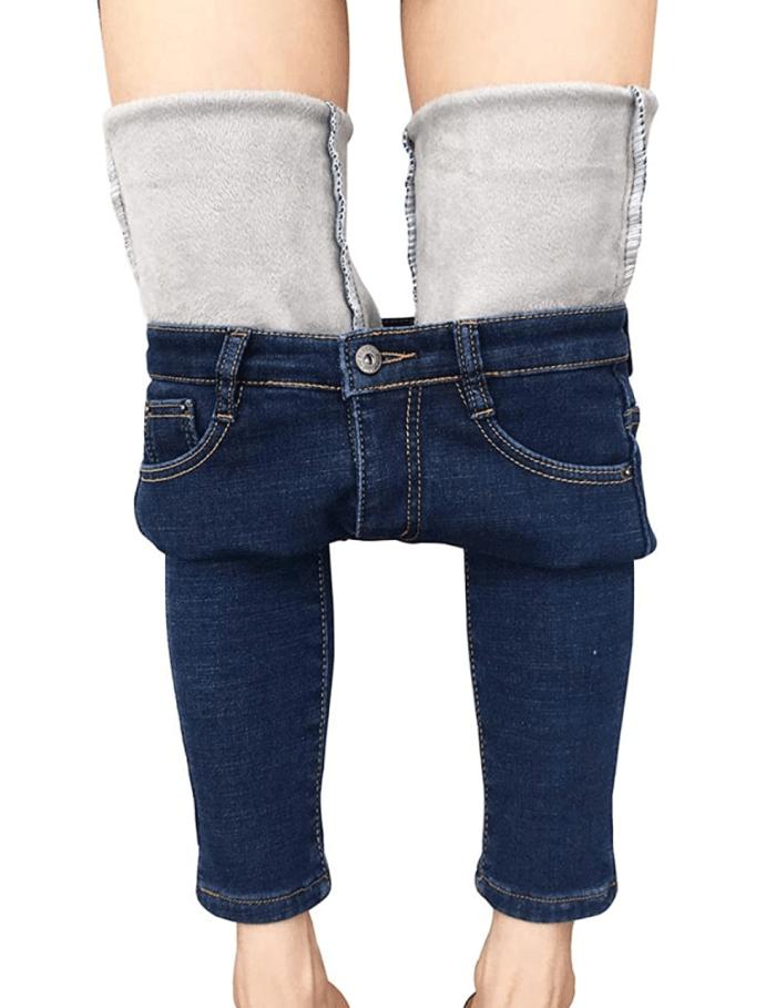 heipeiwa - Vaqueros ajustados elásticos con forro polar de invierno para mujer
