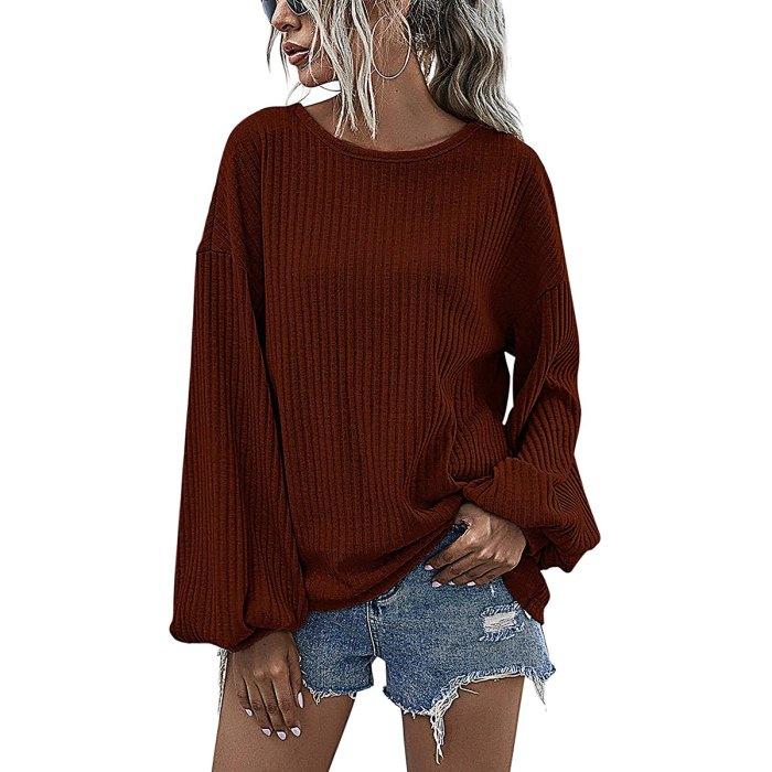 Suéter informal holgado de manga larga con cuello redondo de Hibluco