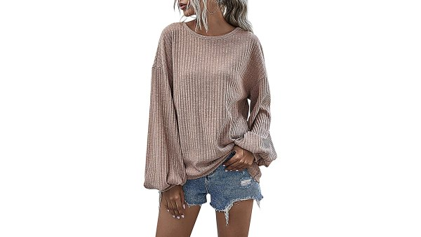 Hibluco Casual Loose Knitted Long-Sleeve Crew Neck Sweater