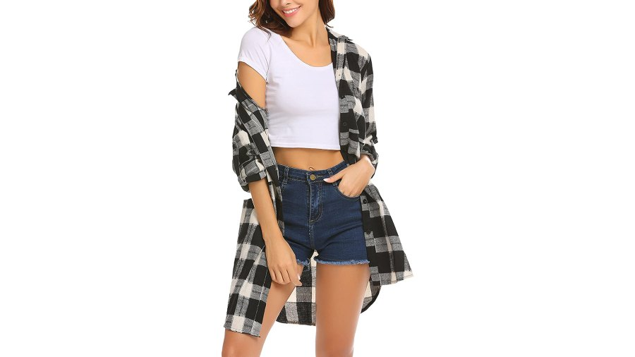 HOTOUCH Flannel Plaid Mid-Long Casual Boyfriend Shirt