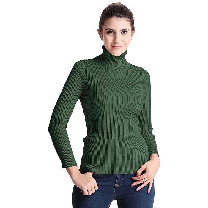 Suéter de manga larga con cuello alto y canalé de PrettyGuide