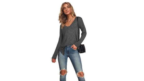 SLLI Long-Sleeve V-Neck Casual Sweater