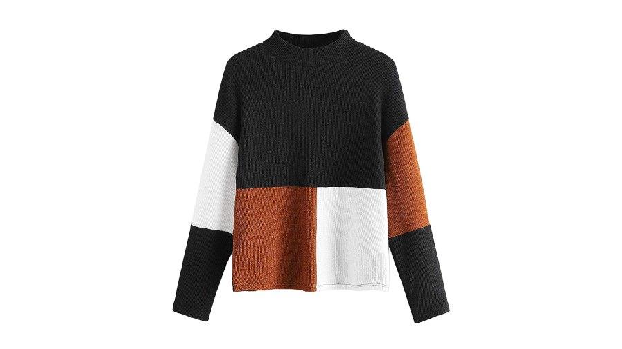 SweatyRocks Long-Sleeve Mock Neck Color-Block Casual Knit Sweater