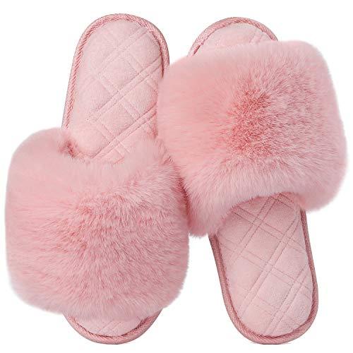 LongBay Women's Fuzzy Faux Fur Memroy Foam Flat Spa Slide Slippers Open Toe House Shoes Sandals (Small / 5-6, Pink)