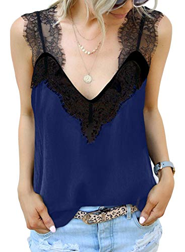 BLENCOT Moda para mujer Cuello en V Encaje Strappy Cami Tank Tops Blusa sin mangas fluida básica suave Camisas Azul Pequeño