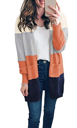 TASAMO Cardigans de manga larga con bolsillo de color sólido y cuello acanalado para mujer (pequeño, colorido naranja)